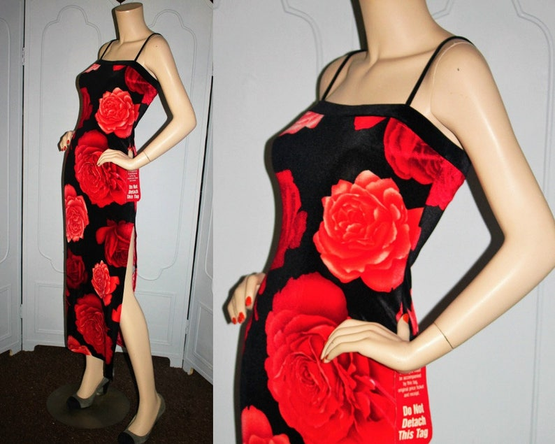 Vintage 90's Stretch Velvet Dress is Red Rose Print. New image 0