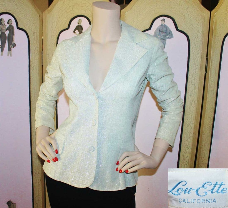 1970's Platinum Metallic Vintage Blazer Jacket. Small. image 0
