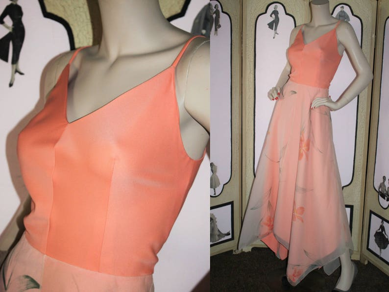 Vintage 1970's Formal Dress with Layered Hand Painted image 0