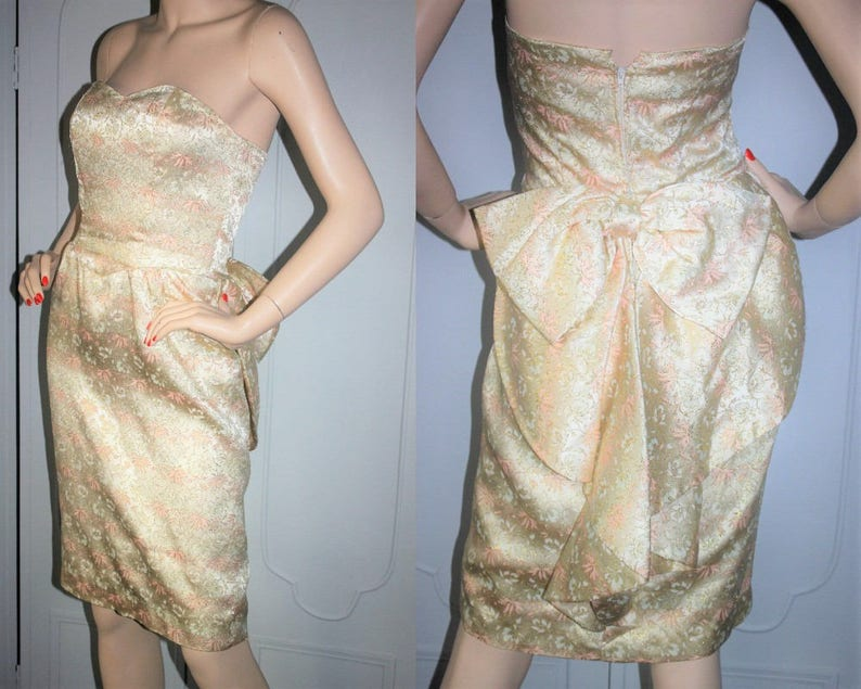 Vintage Strapless Brocade Cocktail Dress with Bow Tail Back. image 0