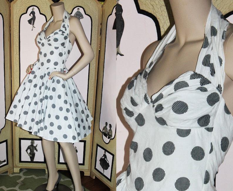 Vintage 80's Black and White Cotton Damask Halter Dress. image 0