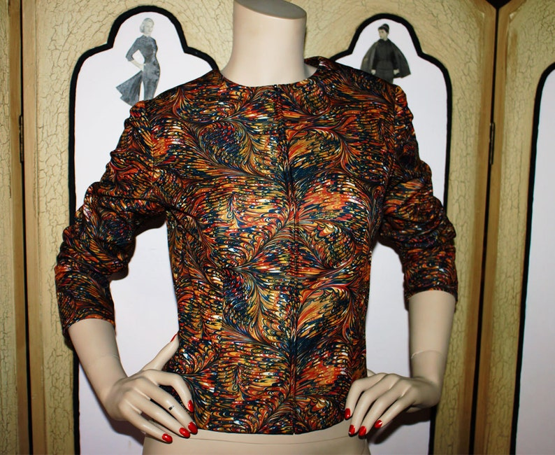1960's Fire Swirl Fitted Zip Front Jacket. Small. image 0