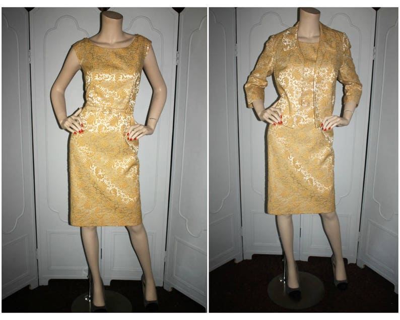 Vintage 60's Flocked Wiggle Dress Belt and Jacket. Medium image 0