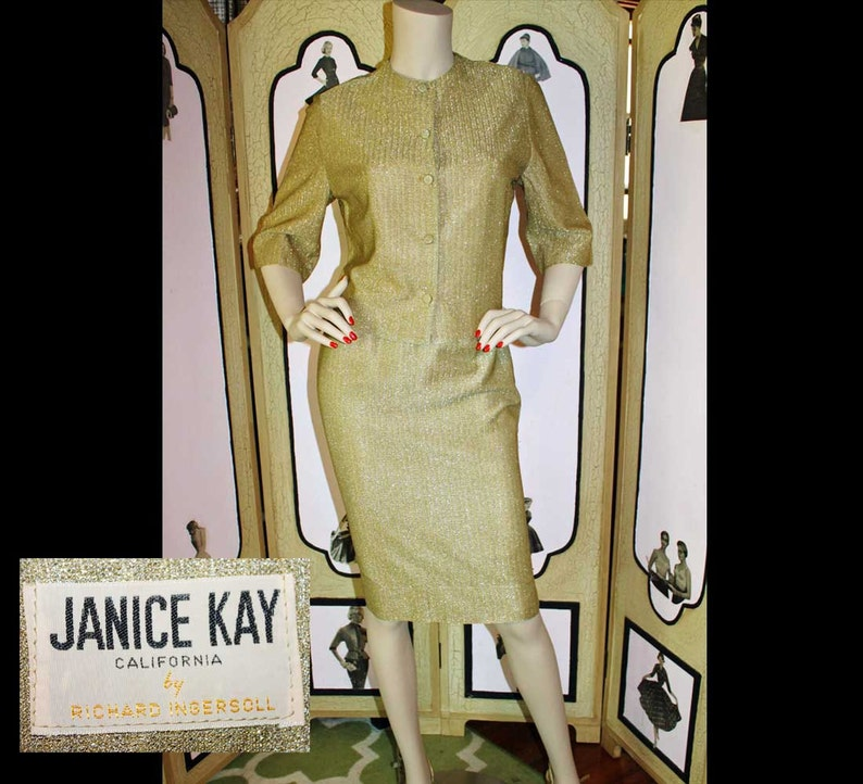 Vintage 60's Gold Metallic Pencil Suit Skirt Set. Small image 0