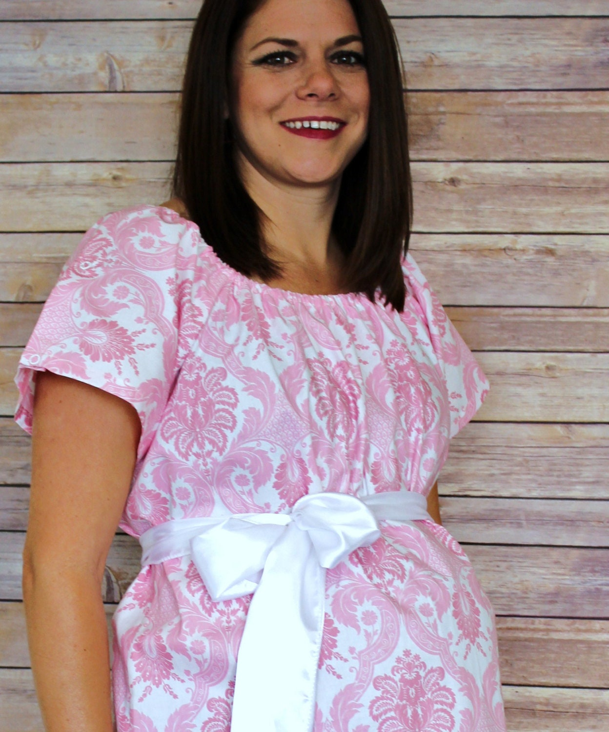 Maternity Hospital Gown in Haddley Baby Pink Damask | Etsy
