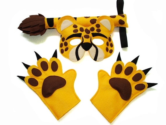 Children/'s Safari Jungle Animal TIGER Felt Mask and Tail Set