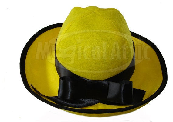 Custom Boutique Halloween MADELINE Yellow Felt Hat  c5f0b948bc1