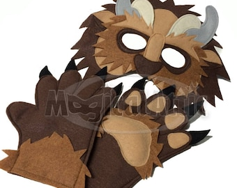 Children's Beauty and the Beast Handmade BEAST Felt Mask and Matching Paws