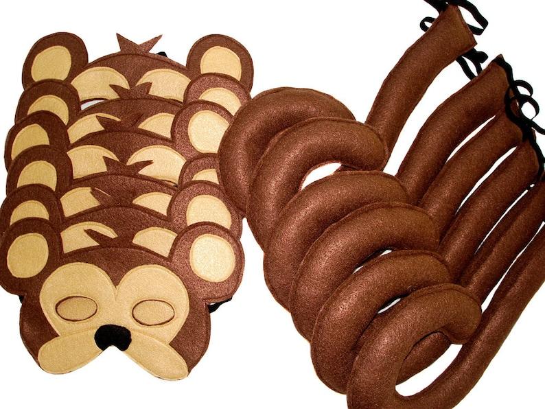 Children/'s Safari Animal MONKEY Felt Mask and Tail Set
