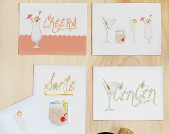 Cheers greeting card stationery set of illustrated cocktail cards   wedding cards bachelorette cards best friend card