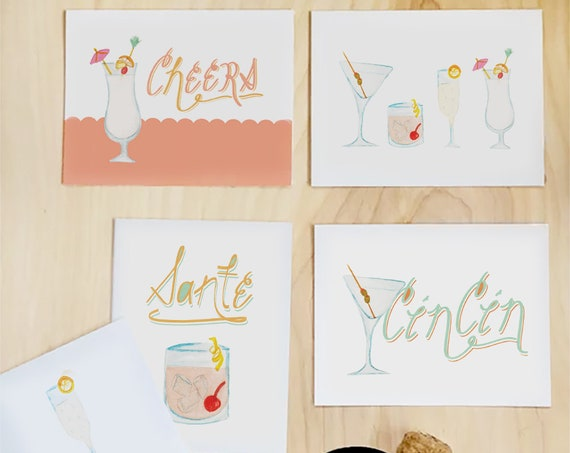 Greeting Card Stationery Set: Cheers set of 6 illustrated cocktail note cards *SALE*