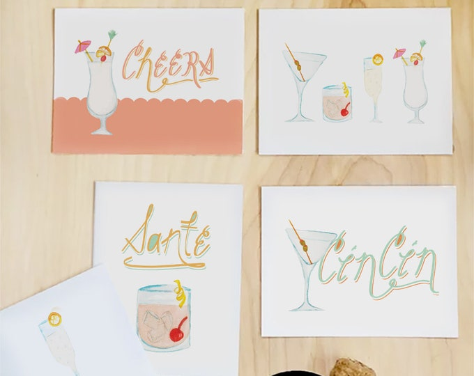 Featured listing image: Cheers greeting card stationery set of illustrated cocktail cards | wedding cards bachelorette cards best friend card