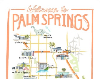 Customizable Palm Springs Map illustration