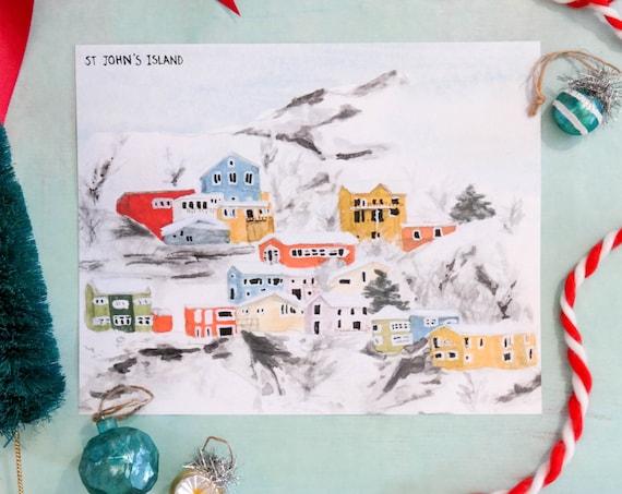 Christmas in Newfoundland, Canada Watercolor Art Print