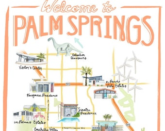 Palm Springs California Illustrated Travel Map print of watercolor illustration