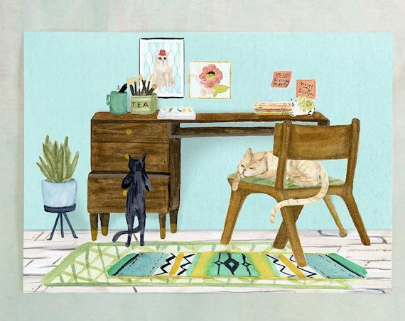 Desk Cats art print of an original watercolor painting