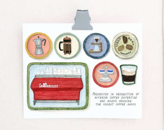 Coffee Snob Merit Badges print of a watercolor illustration
