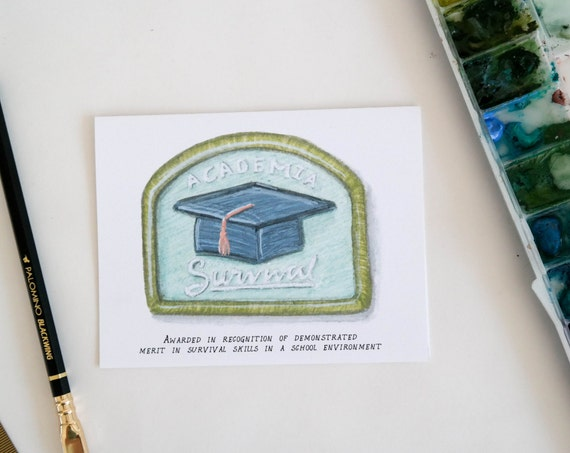 Academia Survival Merit Badge Graduation Card