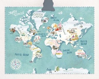 Southern Solstice Celebrations illustrated map travel print