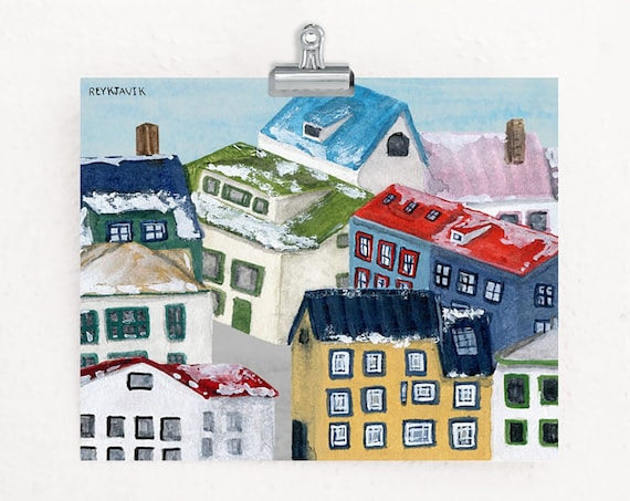 Christmas in Reykjavik, Iceland Watercolor Art Print