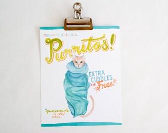 Purritos cat art print of watercolor illustration