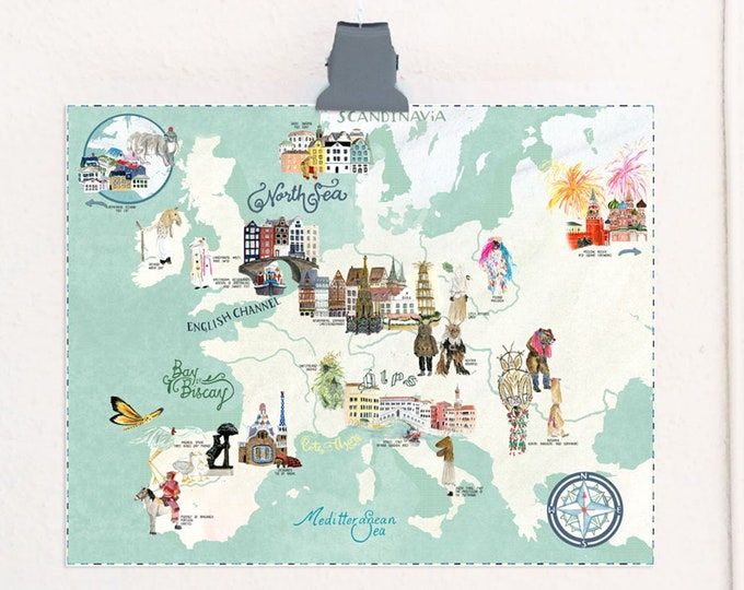 Featured listing image: European Southern Solstice Celebrations illustrated map travel print