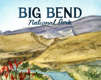 Big Bend Texas National Parks Travel Poster *OLD*