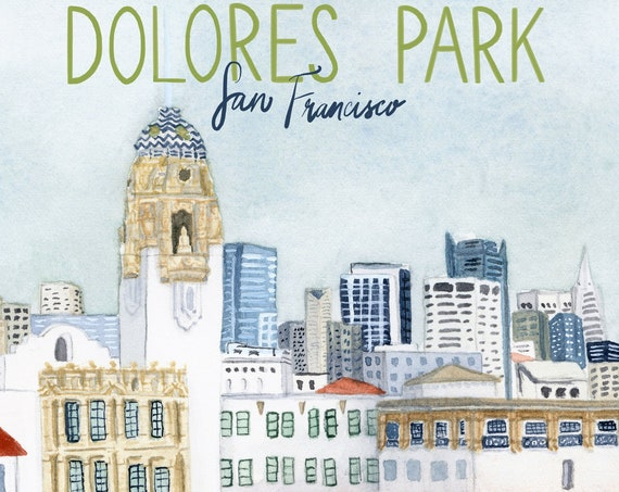 Dolores Park San Francisco Travel Poster art print of a watercolor illustration