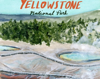 Yellowstone Wyoming National Parks Travel Poster art print of watercolor illustration