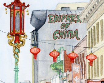 Chinatown San Francisco Travel Poster art print of watercolor illustration