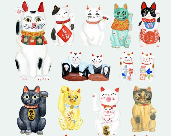 Maneki Neko Collection Japanese lucky cat art print of watercolor illustration