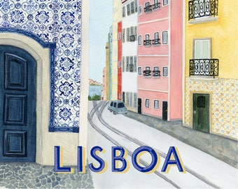Lisbon Print Travel Poster art print of watercolor travel illustration