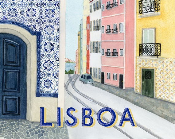 Lisbon Portugal Travel Poster art print of watercolor illustration