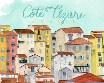 Cote d'Azure France Travel Poster art print of watercolor illustration