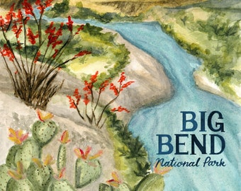 Big Bend Texas National Parks Travel Poster art print of watercolor illustration