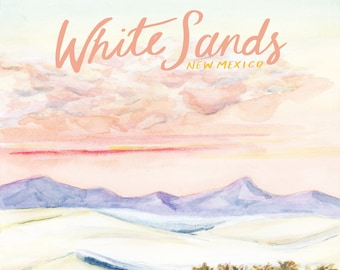 White Sands New Mexico National Monuments Travel Poster art print of watercolor illustration