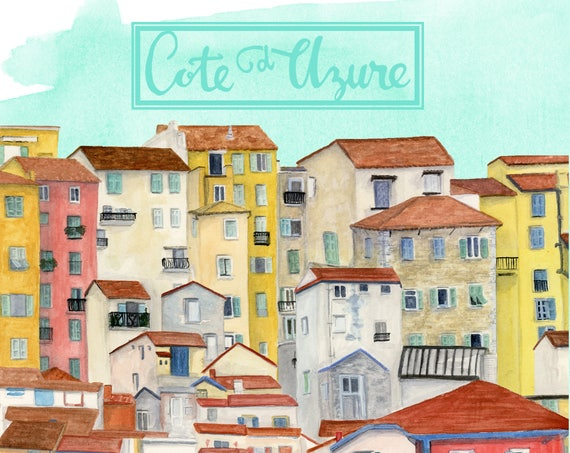 Cote d'Azure, France Travel Poster art print of an original watercolor illustration *OLD*