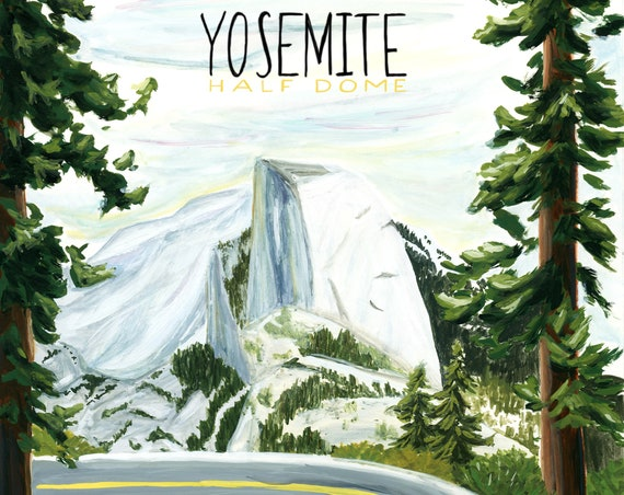 Yosemite California National Parks Travel Poster print of watercolor illustration