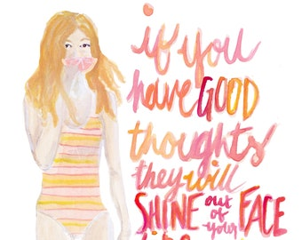Good thoughts quote lettered art print of an original watercolor illustration