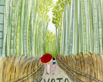 Kyoto Japan Travel Poster art print of watercolor illustration