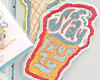 Stay Frosty Ice Cream Hand Embroidered Patch Yellow/Red/Blue