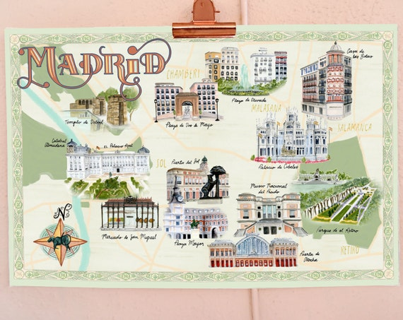 Madrid, Spain travel poster, illustrated watercolor map