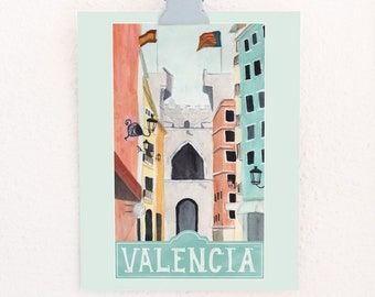 Valencia Travel Poster art print of watercolor travel illustration