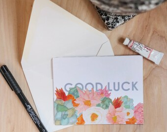 Good Luck set of 5 floral note cards