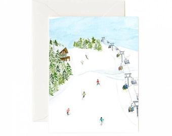 Holiday Card Set: Skiing (Set of 8)