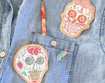Hand Embroidered Sugar Skull Patch *SOLD OUT*