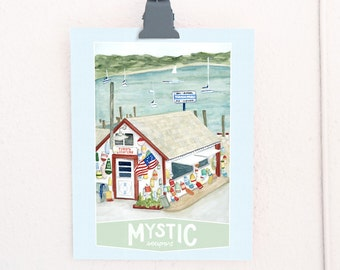 Mystic Seaport Connecticut Travel Poster art print of a watercolor illustration