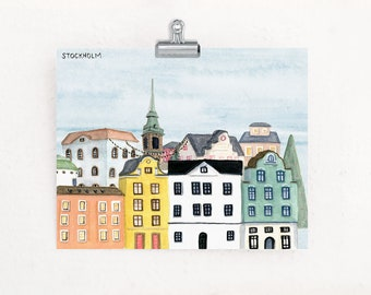 Christmas in Stockholm Sweden travel art print of watercolor illustration