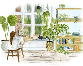 Greenloft art print of watercolor illustration