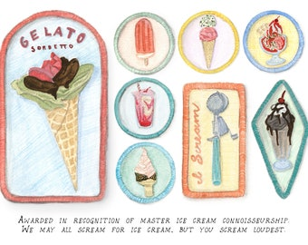 Ice Cream Connoisseur Merit Badges funny print of a watercolor food illustration